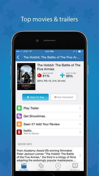 Movies by Flixster, with Rotten Tomatoes app review - appPicker