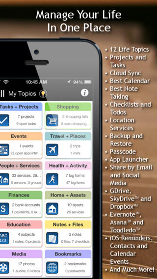 LifeTopix All-in-One Personal Organizer screenshot 1