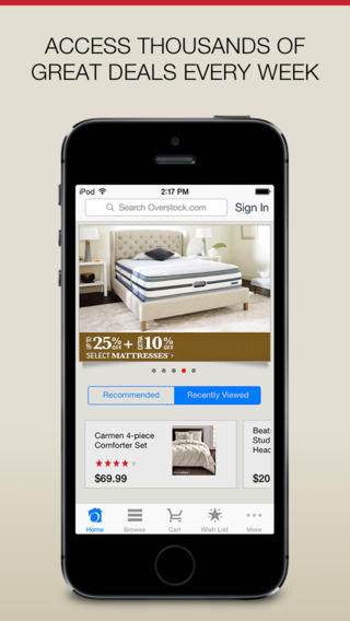 Overstock.com app review: search, browse, and make purchases on Overstock.com screenshot 1