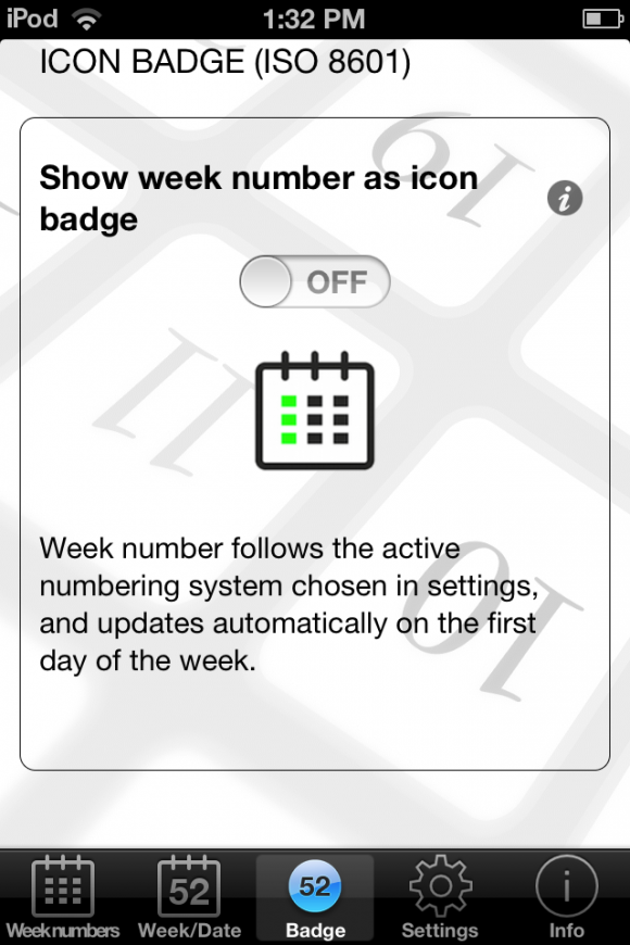 Choose how you want the week number to appear