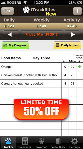 Points Calculator for Weight Loss and Exercise with Food Value screenshot 1