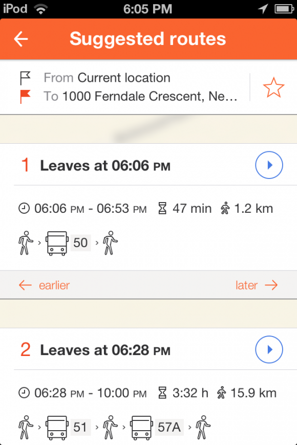 Find and compare routes