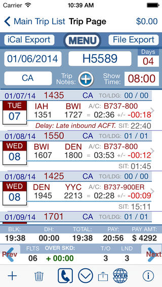FltCrew-iLog ... Airline Crew Logbook screenshot 2