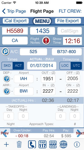 FltCrew-iLog ... Airline Crew Logbook screenshot 3