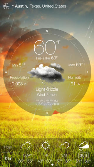 Weather Live Reloaded incredible interface design