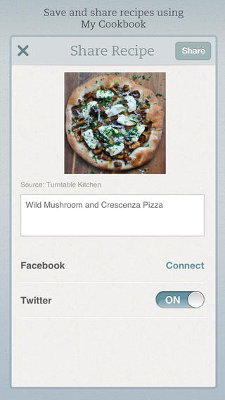 Share recipes with others online