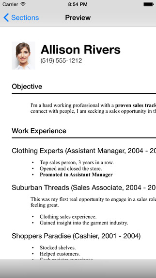 Build a professional looking resume