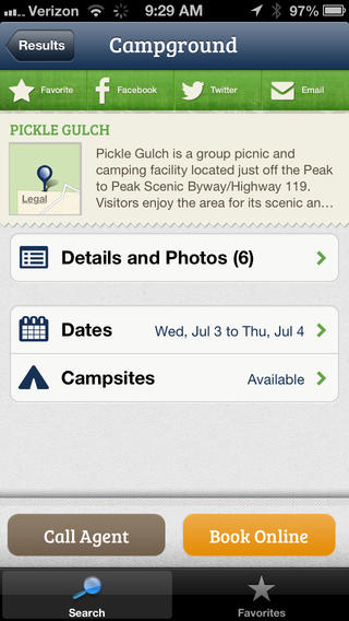 Read up on campsite details and view photos