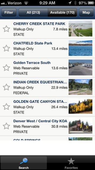 View list of available campsites