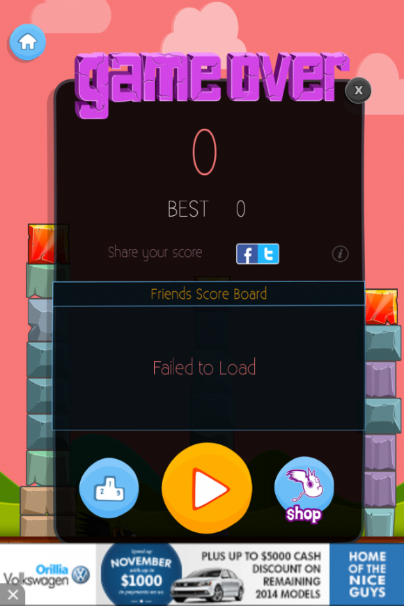 Share your high scores on Twitter and Facebook