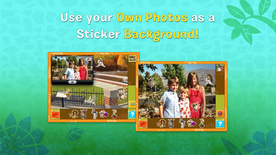 Sit your own photos as sticker book backgrounds