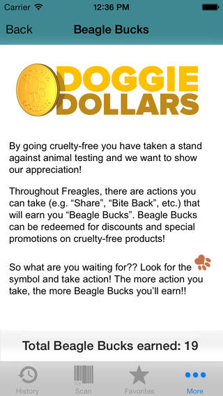 Earn and redeem Doggie Dollars