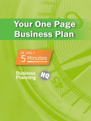 Min Business Plan App Review Create A Simple Onepage Business - Business plan template for app